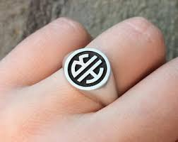 Monogram Signet Rings Custom Signet Ring Etsy