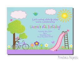 Invite Birthday Card Park Party Invitations Park Birthday Party Invitations