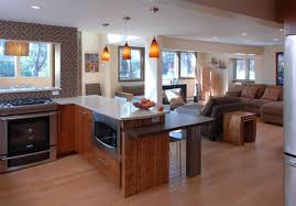 Kitchen Peninsula With Seating by Lower Bar Area At Peninsula Microwave Location Support Beam