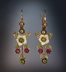 vintage earrings nouveau gold enamel demantoid ruby russian earrings antique