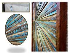 reclaimed wood artwork wall starburst sculpture blue brown white