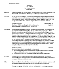 Language Skills Resume Sample by Resume Outline Examples Sample Basic Resume 21 Documents In