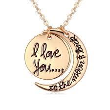 moon pendant necklace gold images I love u with sun moon pendant necklace 18k gold plated romantic jpg