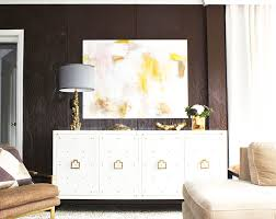 White Lacquer Credenza Jonathan Adler Reform Abstract Brass Credenza