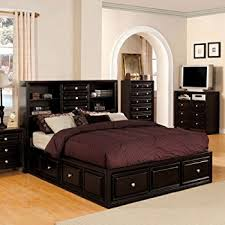 amazon com coaster queen size bookcase chest bed in brown finish