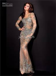 203 new style crystals column prom dresses jewel long sleeve