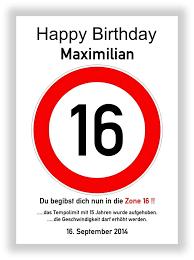geburtstagsspr che zum 16 verkehrszeichen bild 16 geburtstag deko geschenk persönliches