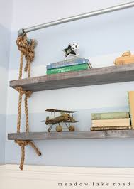 diy pipe and rope shelves meadow lake road up close of shelves