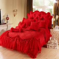 Red Bedding Red Girls Lace Tulle Ruffle Flowers Jacquard Full Queen King