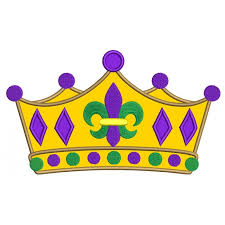 mardi gras fleur de lis crown applique machine embroidery