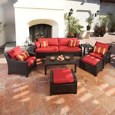 Red Patio Set by Shop Rst Brands Deco Cantina Red 8 Piece Wicker Patio Conversation