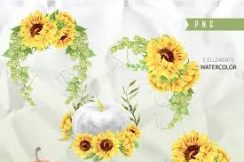 wedding greeting cards helloween sunflowers watercolor clipart sunflowers sunbeams