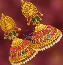 gold jhumka earrings design j3427 temple laxmi indian jewellery god design gold plated