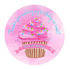 party favor labels pink cupcake stickers cupcake birthday party pink cupcake 1st