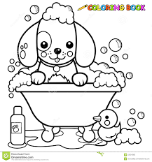 dog taking a bath coloring page stock vector image 53354382