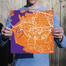 Clemson University Map Clemson University Campus Map Art City Prints