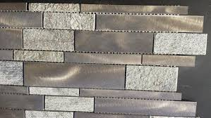 Brushed Aluminum Tile  Textured Green Quartz Tile Kitchen - Aluminum backsplash