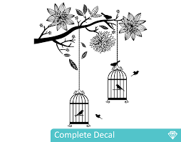 bird cages in tree your decal shop nz designer wall art decals bird cages in tree