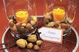 beautiful happy thanksgiving table setting centerpiece with ornage