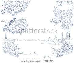 branches winter sketch snow stock images royalty free images