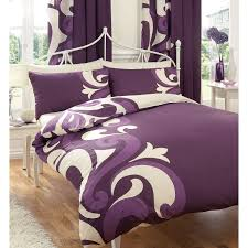bedroom purple drape and white sheer curtain for master bedroom