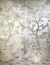 chinoiserie mural over silver leaf chinoiserie u0026 floral