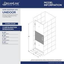23 Shower Door Dreamline Unidoor 72 X 23 Hinged Frameless Shower Door With
