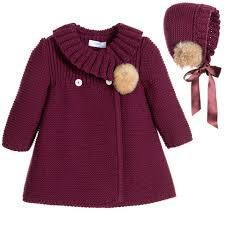 baby burgundy traditional heritage style knitted coat