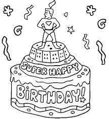 Birthday Cake Coloring Pages Printable Super Happy Birthday Birthday Cake Coloring Pages