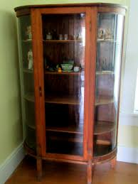 Curio Cabinet With Glass Doors Antique Oak Curio Cabinet Flat Glass Door Half Sides