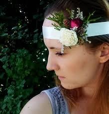 hair corsage ivory green burgundy baby headband bridal boho rustic woodland