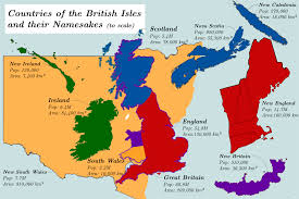 World Map To Scale by Countries Of The British Isles And Their Namesakes To Scale