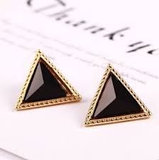triangle stud earrings aliexpress buy retro colorful geometric triangle stud