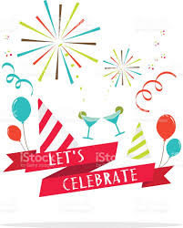 vector lets celebrate banner with party icon stock vector art