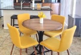 Ergonomic Dining Chairs Mid Century 4 Pc Fabric Dining Chairs Linen Ergonomic Wood Leg