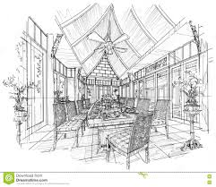 sketch room sketch interior perspective dining room black and white interior