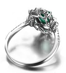 white emerald rings images Antique floral 1 50 carat emerald and diamond engagement ring in jpg