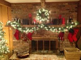 interior creative garland on fireplace home design