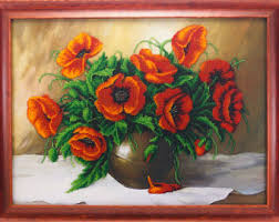Vase With Red Poppies Embroidered Poppy Etsy