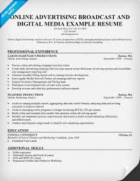 Online Resumes Samples by Online Advertising Broadcast Digital Media Resume
