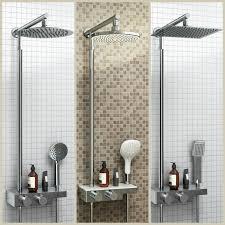 modern bathroom mixer shower thermostatic twin head set chrome