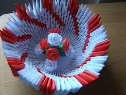 obiecte handmade bol decorativ rosu alb handmade