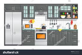 kitchen appliances black interior on white stock vector 574904575