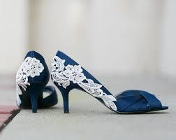 wedding shoes navy lace rhinestone wedding shoes pearl bridal heels