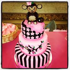 monkey baby shower cake pink and brown my cakes