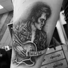 Guitar Tattoo Designs Ideas 60 Elvis Presley Tattoos For Men King Of Rock And Roll Design Ideas