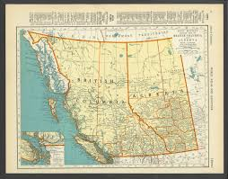 Cleveland Rta Map Vintage Map Of British Columbia Alberta Canada From 1937