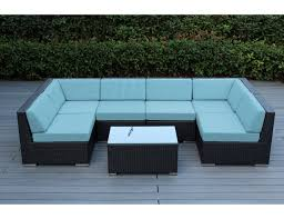 Modular Wicker Patio Furniture - sunbrella mineral blue with black wicker ohana wicker furniture