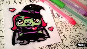 halloween drawings how to draw cute witch by garbi kw youtube