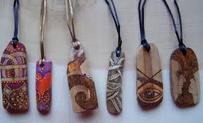 wood pendants necklace images Commissioned pyrographed and painted wood pendants paintings on jpg